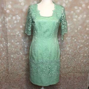 Tahari ASL Mint Green Lace Sheath Dress